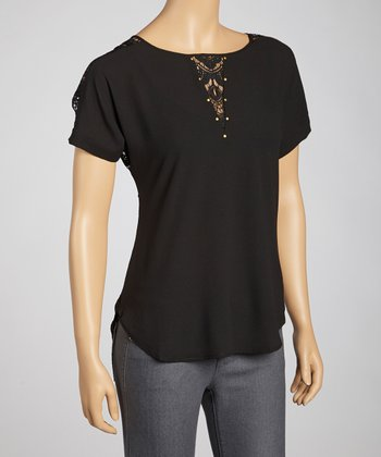 Black Colby Lace-Back Top
