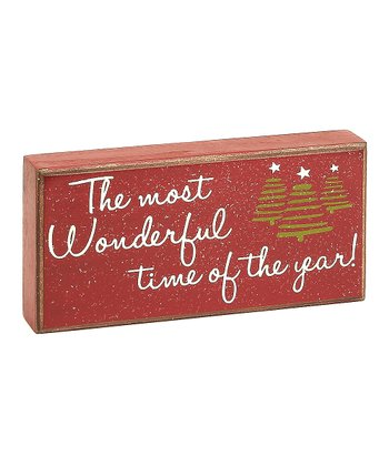 Red 'Most Wonderful Time' Box Sign
