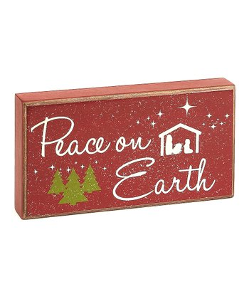 Red 'Peace on Earth' Box Sign