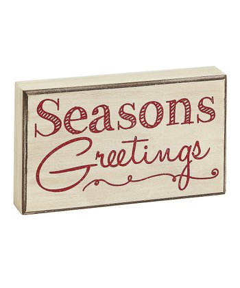 Cream 'Seasons Greetings' Box Sign