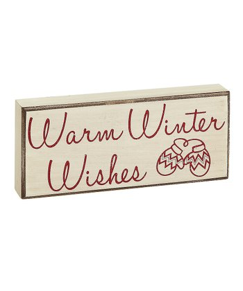 Cream 'Warm Winter Wishes' Box Sign