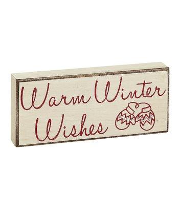 Cream 'Warm Winter Wishes' Box Sign
