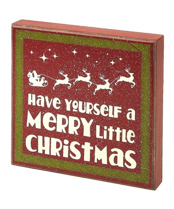 Red 'Merry Little Christmas' Box Sign