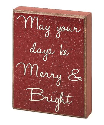 Red 'Merry & Bright' Box Sign