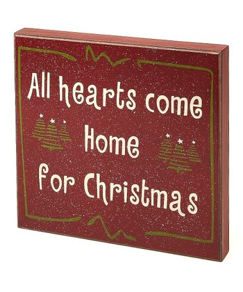 Red 'Home for Christmas' Box Sign