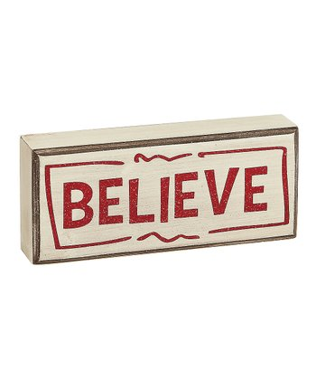 Cream 'Believe' Box Sign