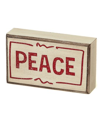 Cream 'Peace' Box Sign