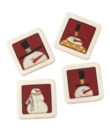Red & Cream Snowman Magnet Set