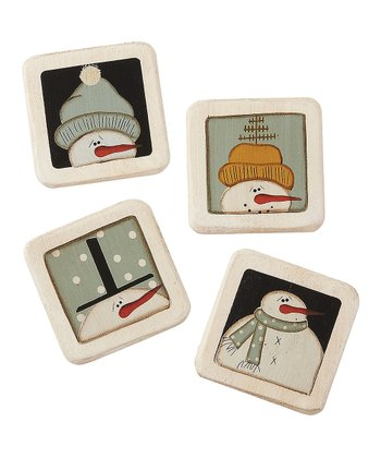 Blue & Black Snowman Magnet Set