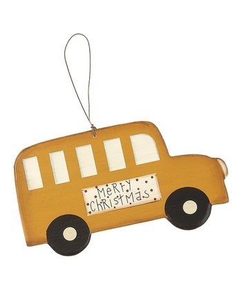 Yellow & Black Bus Ornament - Set of Three