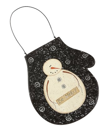 Black 'Be Merry' Mitten Ornament