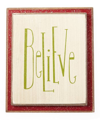 Cream 'Believe' Ornament