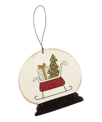 Sleigh Snow Globe Ornament - Set of Three