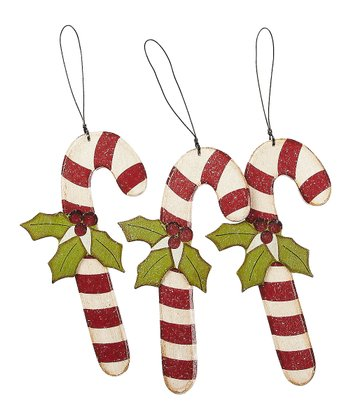 Holly Candy Cane Ornament - Set of Three