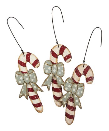 Bow Candy Cane Ornament - Set of Three