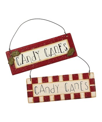 'Candy Canes' Sign Ornament Set