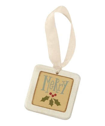 'Merry' Mini Tile Ornament - Set of Four