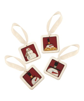 Red Snowman Mini Tile Ornament Set