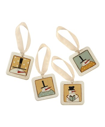 Gold Snowman Mini Tile Ornament Set