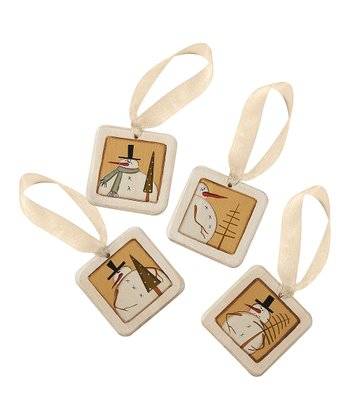 Gold Snowman & Tree Mini Tile Ornament Set