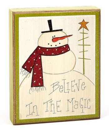 Cream 'Believe' Snowman Box Sign