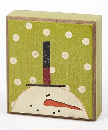 Green Polka Dot Snowman Box Sign