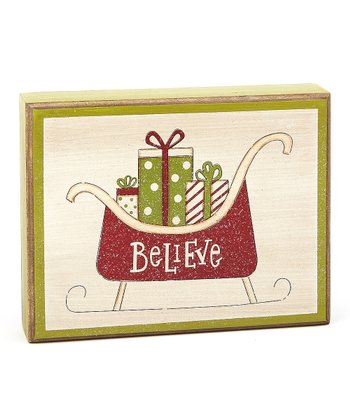'Believe' Sleigh Box Sign