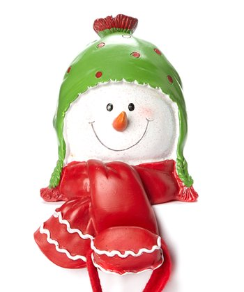 Green Polka Dot Snowman Stocking Holder
