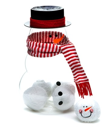 Stripe Scarf Snowman Figurine & Ball Fun Set
