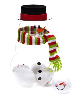 Green Scarf Snowman Figurine & Ball Fun Set