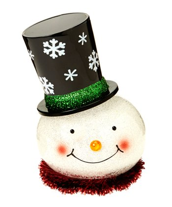 Green Brim LED Snowman Figurine