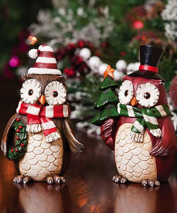 Decorative Holiday Owl Figurine Set
