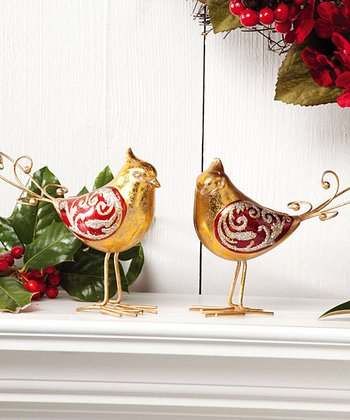 Gold & Red Metallic Bird Figurine Set