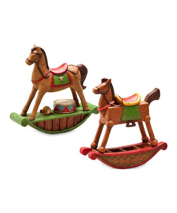 Decorative Rocking Horse Figurine Set