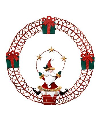 Red Santa Wreath Card Holder
