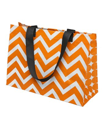 Burnt Orange & White Large Tote