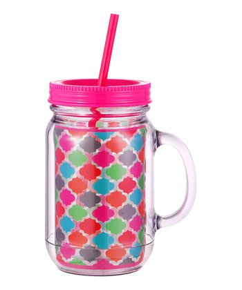 Pink & Light Blue Quatrefoil Mason Jar Sipper Mug
