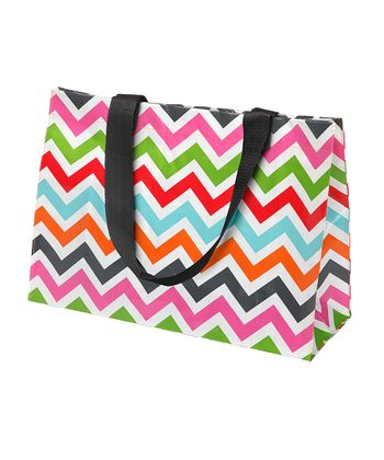 Red & Light Blue Zigzag Large Tote