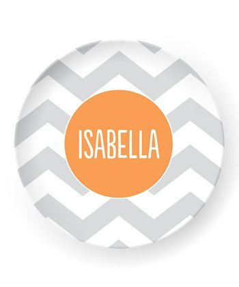 Gray Zigzag Personalized Plate