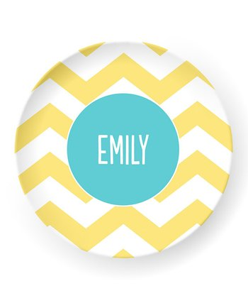 Yellow Zigzag Personalized Plate