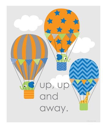Blue 'Up, Up and Away' Print