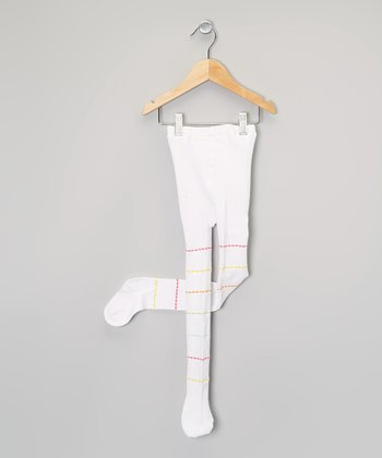 White & Pink Ribbon Stripe Tights - Infant & Toddler