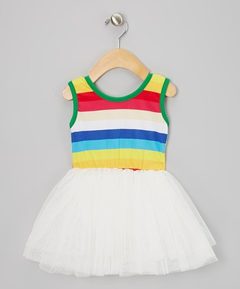 Green & White Stripe Tutu Dress