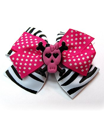 Hot Pink & Black Zebra Skull Clip