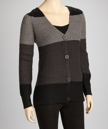 Black & Gray V-Neck Cardigan