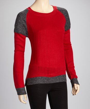 Red & Charcoal Glitter Sweater