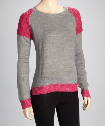 Heather Gray & Pink Glitter Sweater