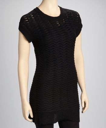Black Wave Sweater Dress