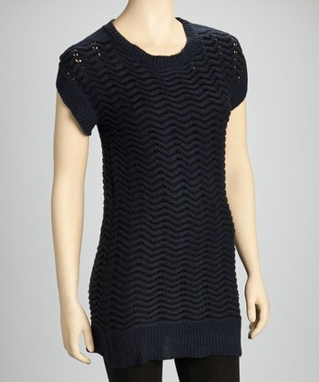 Navy Wave Sweater Dress