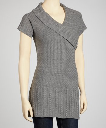 Heather Gray Short-Sleeve Surplice Sweater